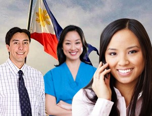 employees with Philippine flag background