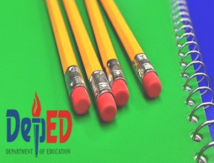 Pencil and Notebook with DepEd logo